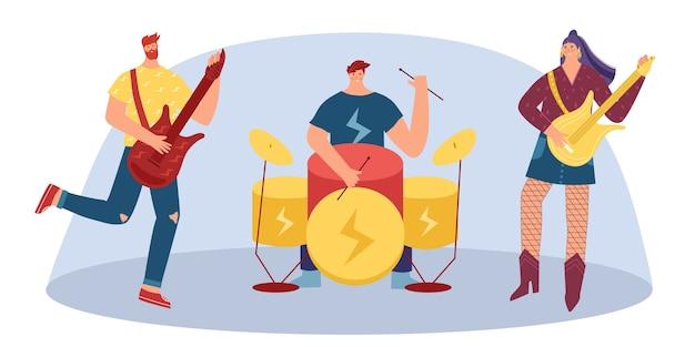 ミュージシャンはロックミュージックの楽器を演奏します。若い女性とギターを持つ男。ドラムの後ろの男。