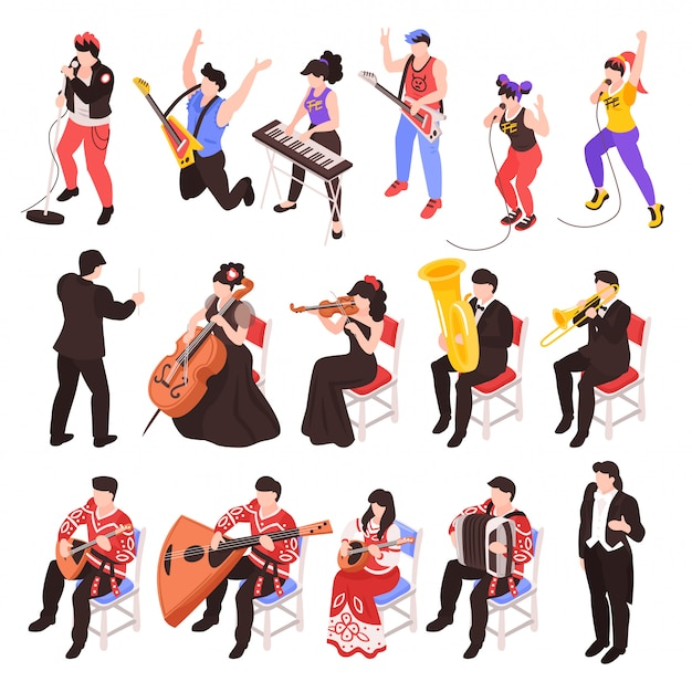Musicians playing musical instruments isometric characters set with rock band  cellist trumpet classical jazz ensemble