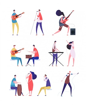 Musicians playing set