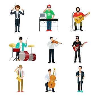 ミュージシャンのショーマンセット。ギタリスト、ドラマー、ピアニスト