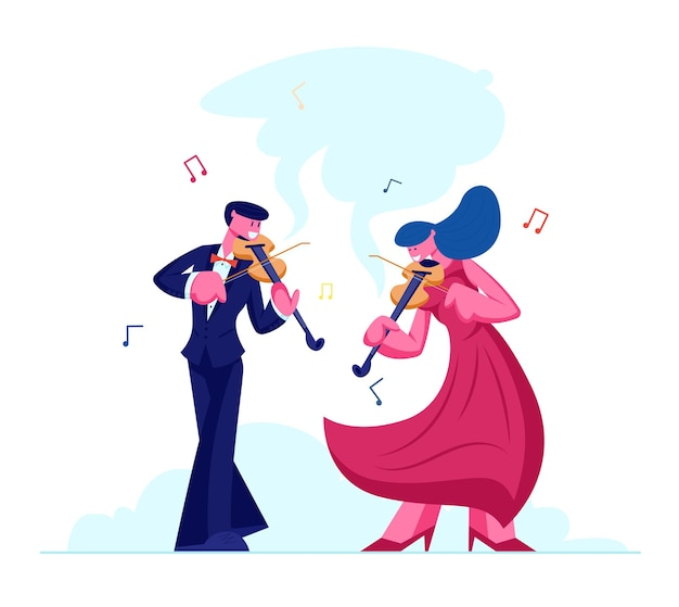 Музыканты с инструментами выступают на сцене со скрипками, концерт классической музыки симфонического оркестра, плоский мультфильм
