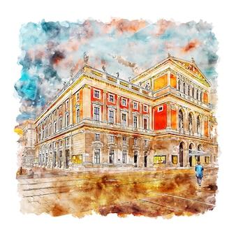 Musikverein вена австрия акварельный эскиз рисованной иллюстрации