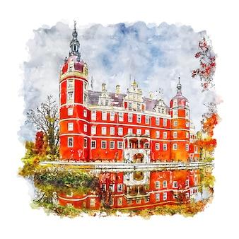 Замок мускау германия акварельный эскиз рисованной иллюстрации
