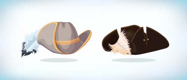 銃士または海賊の帽子。仮面舞踏会またはカーニバル衣装の頭飾り。