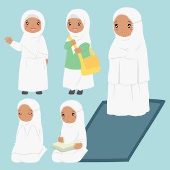 イスラム教徒のアフリカ系アメリカ人の女の子の毎日の活動コレクション
