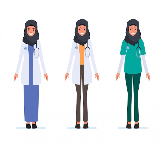 Muslim or arab doctor character medical staff.