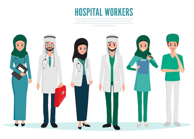 Muslim and arab doctor character.