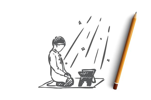 Muslim, arab, islam, religion, koran, boy, child concept. hand drawn muslim boy praying with koran book concept sketch.