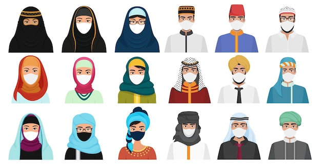 Muslim arabian people in traditional national clothes and masks set isolated