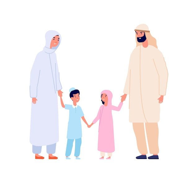 Muslim arabic family. arab kids, islam mother father children. cartoon boy and girl in hijab, isolated adults and youngs vector characters. mother and father islam with characters kids illustration