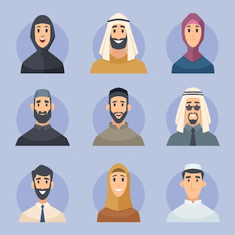 Muslim avatars. arabic male and female characters front view portraits faces vector east people. avatar muslim man and woman illustration