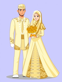 Muslim betawi brides in gold clothes.