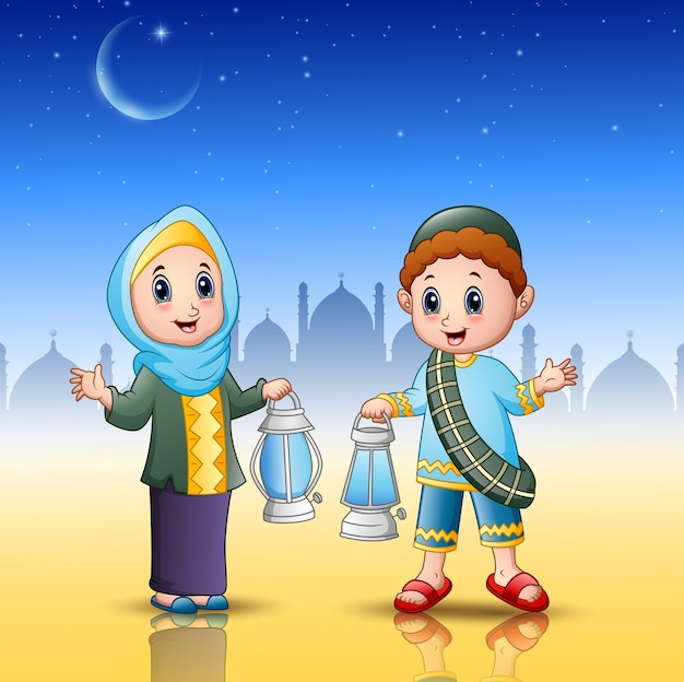 Muslim boy and girl cartoon holding lantern