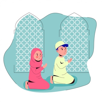 Muslim boy and girl praying together in mosque after shalat illustration
