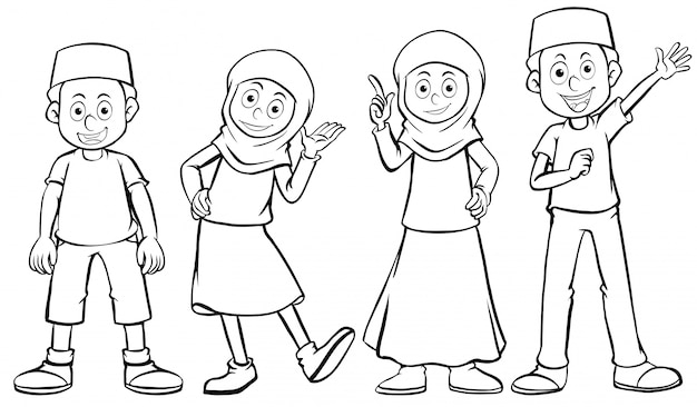 Muslim boy and girl with happy face