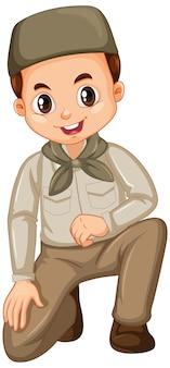 分離されたサファリ服でイスラム教徒の少年