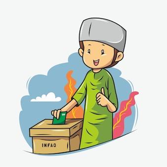 Muslim boy is giving charity in box