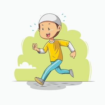 Muslim boy is jogging