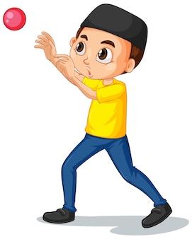 Мусульманский мальчик играет в мяч на изолированном фоне