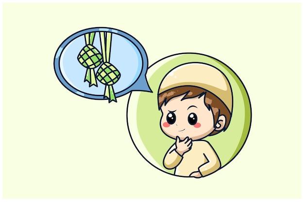 Muslim boy thinking in ramadan kareem cartoon illustration