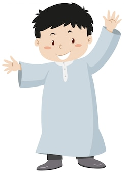 Muslim boy waving hands
