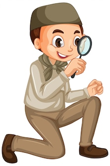 Muslim boy with magnifying glass isolated