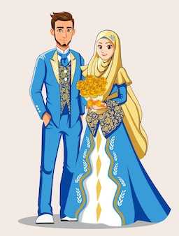 Muslim brides in blue and gold clothes.
