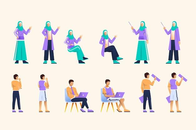 イスラム教徒の実業家のキャラクターデザイン