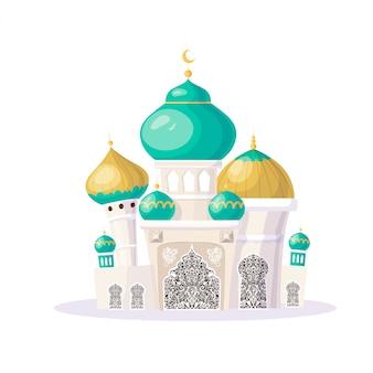 Muslim castle. cartoon islamic mosque. illustration.