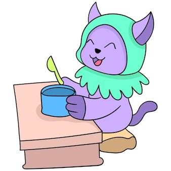 Muslim cat women are eating iftar, vector illustration art. doodle icon image kawaii.