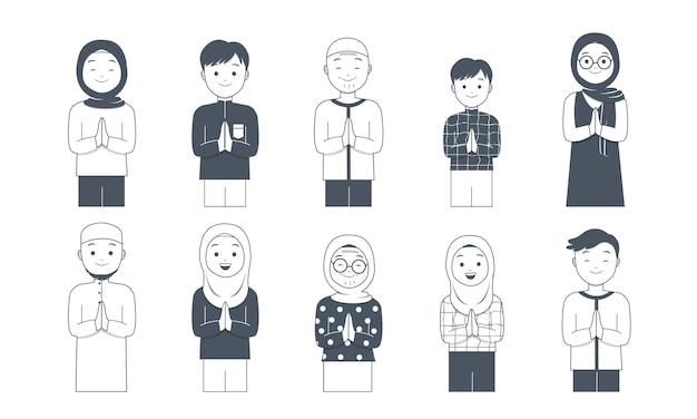 Muslim characters with greeting pose collection