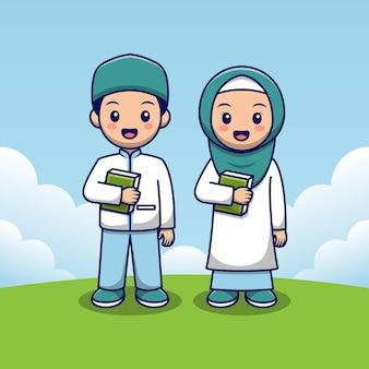 Muslim child couple holding quran Premium Vector