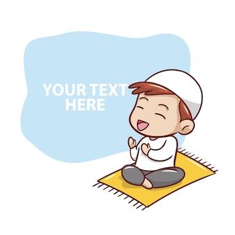 Muslim child praying illustration