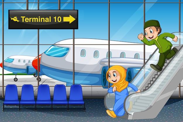 空港でイスラム教徒の子供たち