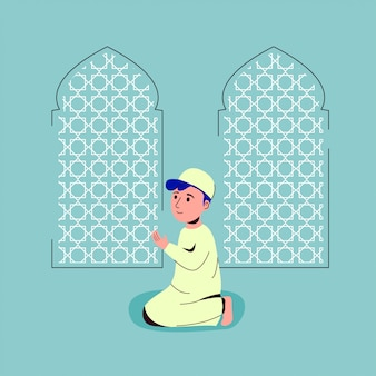 Muslim children praying in mosque illustration