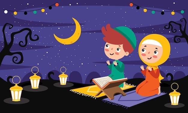 산에서 밤에 카펫 위에서기도하는 무슬림 어린이들