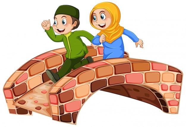 Muslim children run across the bridge