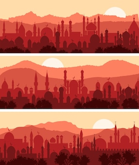Мусульманские городские пейзажи, три фона традиционного арабского города