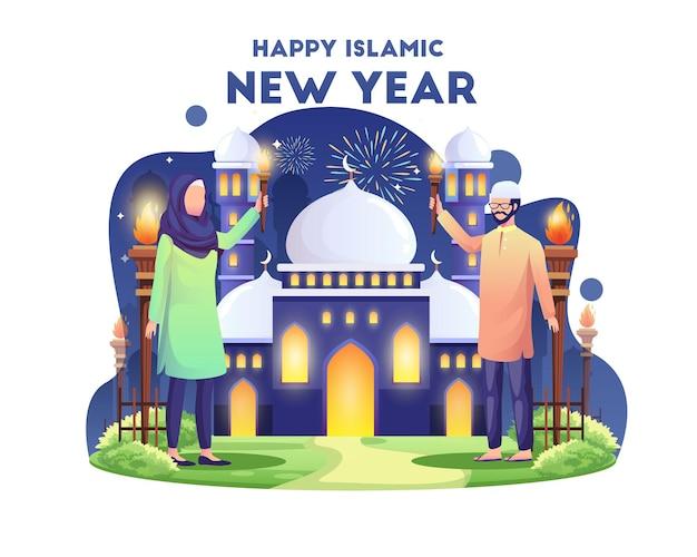 Мусульманская пара празднует исламский новый год с иллюстрацией фестиваля факелов