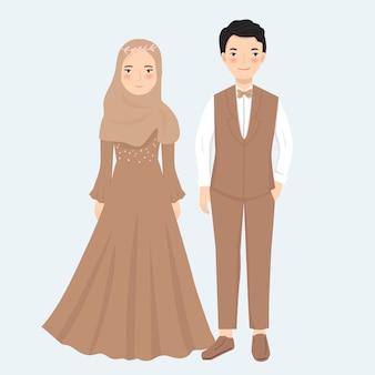 Muslim couple in formal dress illustration
