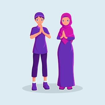 만화 스타일 일러스트에서 무슬림 부부