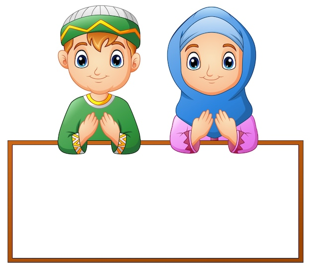 Muslim couple kid praying with blank sign
