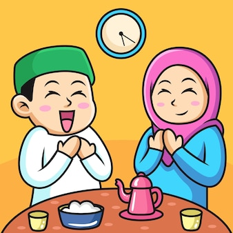 Muslim couple praying to allah during iftar time. icon illustration. person icon concept isolated