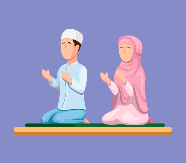 Muslim couple sitting and praying. islam religion people in cartoon illustration