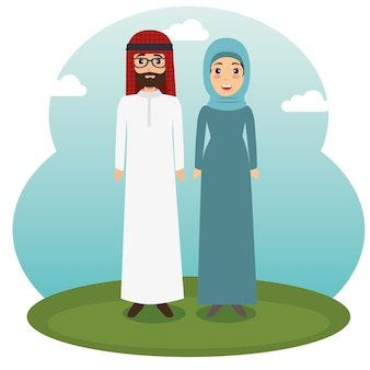 Muslim couple standing design