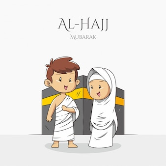 Muslim couple wear ihram in front of the kaaba mecca during the hajj