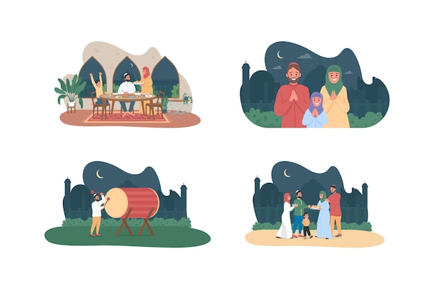 Мусульманская культура 2d веб-баннер, набор плакатов