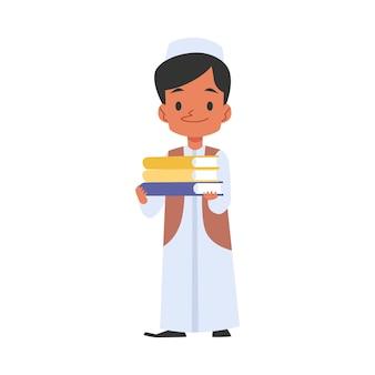 本を持ったイスラム教徒のかわいい子供が学校に行きます
