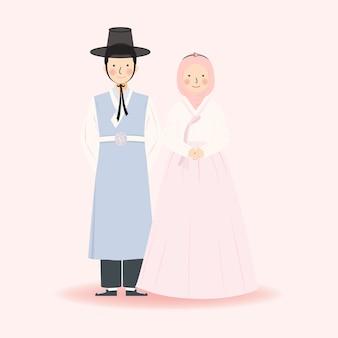 韓国の伝統的な韓服のイスラム教徒のかわいいカップルイラスト結婚式の服、シンプルなミニマリストのエレガントなロイヤルかわいいフォーマルドレスの服装のイスラム教徒のカップルのイラスト