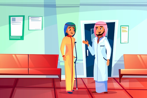 Muslim doctor and patient illustration of hospital or clinic.